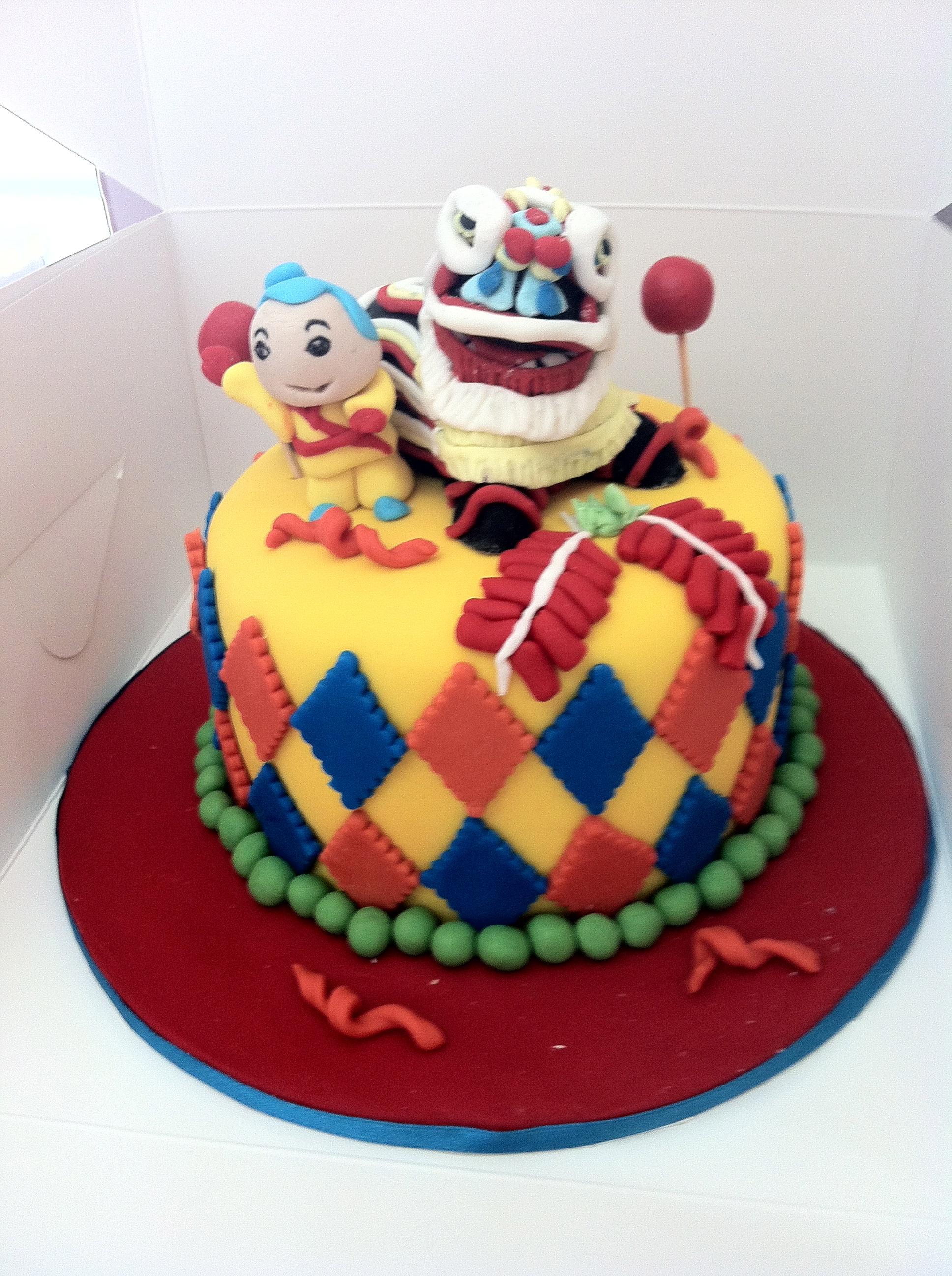 Lion Dance Birthday Cake